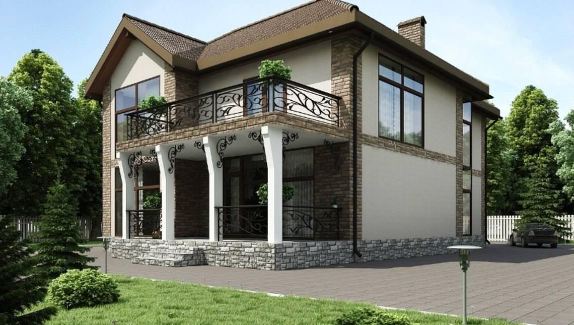 Большой двухэтажный дом с панорамными окнами и красивым балк.