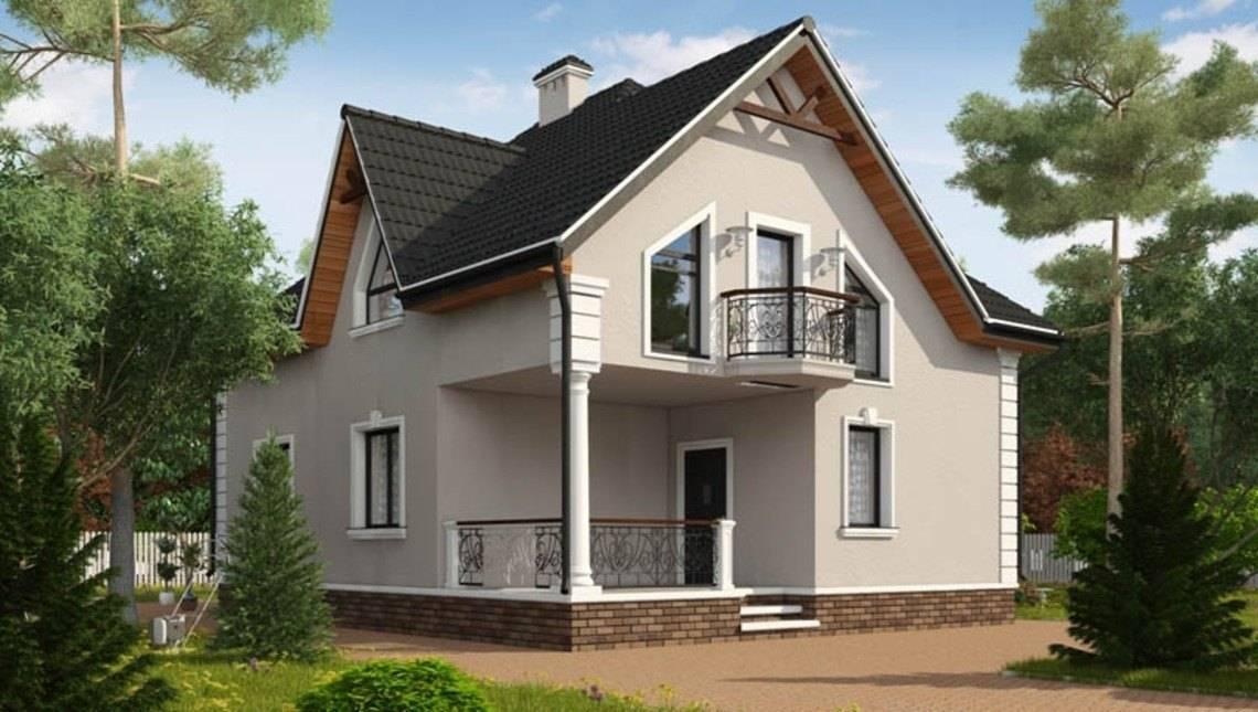 Проект просторного 1,5 этажного загородного дома с красивыми.